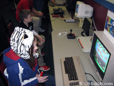 Kids playing Frogger and other games - Commodore Computer Club