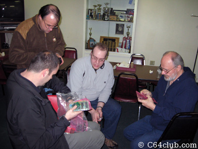 Dan, Conrad, Jimmy and Mike checking out prototype PCB's - Commodore Computer Club