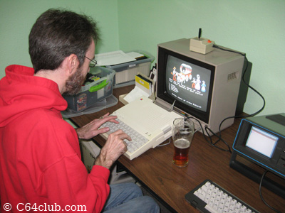 Kevin playing Oregon Trail on the Apple IIc - Commodore Computer Club