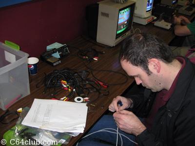 Dan making C64 video cables - Commodore Computer Club