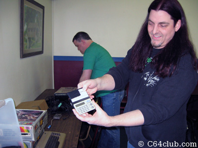 Scott with Atari Calculator - Commodore Computer Club