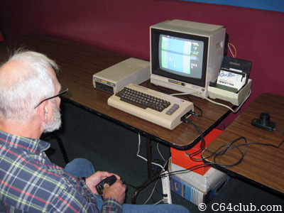 Bill with his C64, 1702 monitor and 1541 setup - Commodore Computer Club