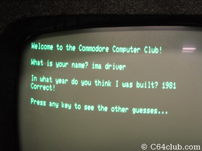 PET 8032 Triva Game - Commodore Computer Club