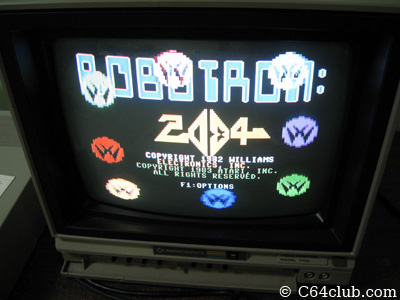 Commodore 64 Robotron 2084 title screen - Commodore Computer Club