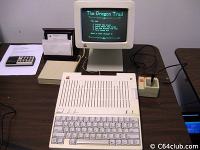 Apple IIc computer with monochrome monitor and Apple II joystick - Living Computer Museum - Commodore Computer Club