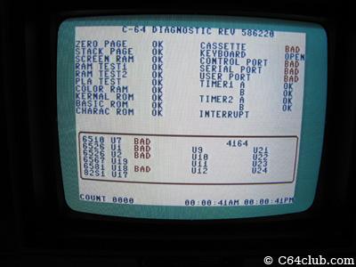 C64 Diagnostic V586220 running on a Commodore board - Commodore Computer Club