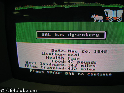 SAL died of dysentery Oregon Trail Apple II - Commodore Computer Club