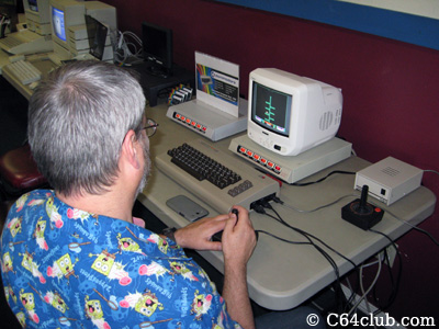 Tommy playing C64 Space Taxi Game - Commodore Computer Club