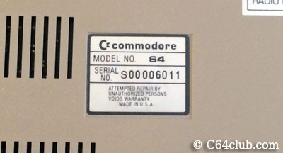 Commodore 64 Silver Label Serial Number - Commodore Computer Club