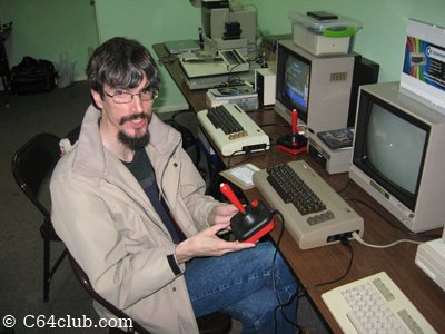 Ryan Sherwood from UPCHUG playing games at the Commodore Computer Club meeting