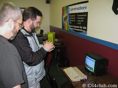 Tom, John Hancock, C64C playing Save New York - Commodore Computer Club