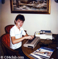 Sean with Commodore 64